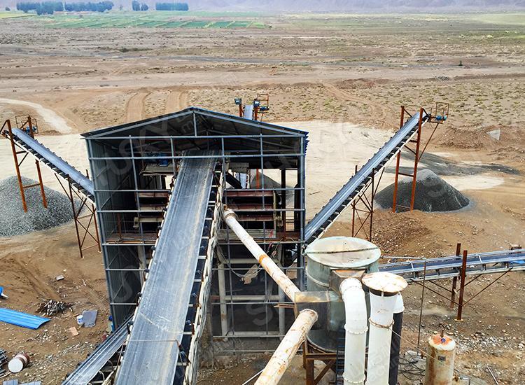 甘肃白银时产120吨花岗岩制砂生产线试机运转良好